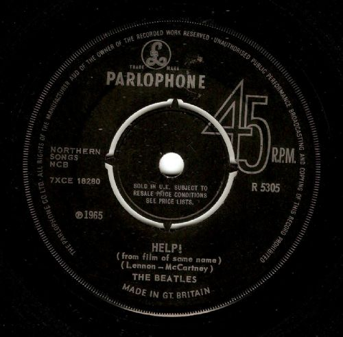 THE BEATLES Help Vinyl Record 7 Inch Parlophone 1965